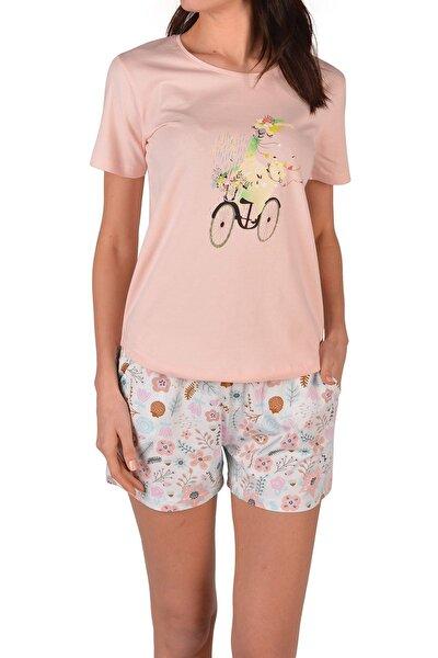 Pembe Kadın Şortlu Pijama Takımı Kısa Kollu Cepli Baskılı Pamuk