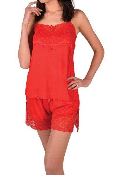 Kırmızı Kadın Şortlu Pijama Takımı Dantelli Kısa Kollu Cepli Viskon