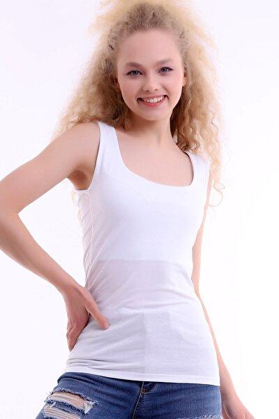 Kadın Beyaz Kare Yaka Kalın Askılı Uzun Body