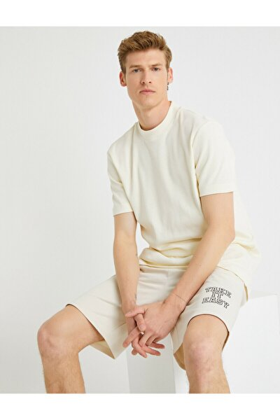 Erkek Ekru Pamuklu T-Shirt