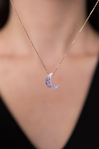 Kadın Faset Kesim Ay Model 925 Ayar Gümüş Kolye