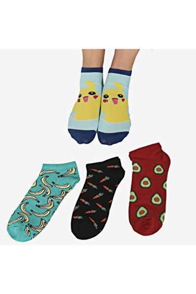 Kadın Renkli Desenli Patik Çorap 4'lü