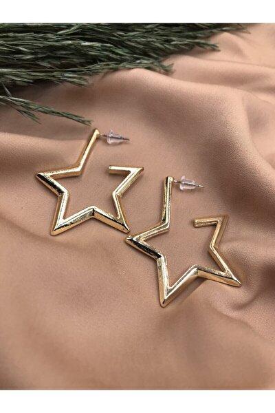 Gold Renkli Yıldız Model Vintage Küpe