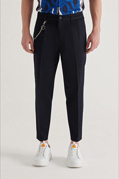 Erkek Lacivert Yandan Cepli Pileli Zincir Detaylı Düz Relaxed Fit Pantolon A11y3010