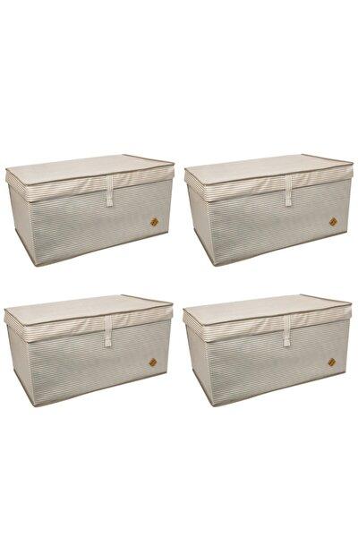 4 Adet - Kapaklı Çok Amaçlı ( Çamaşır-saklama-düzenleme Vb. ) Hurç, Kutu Mega 60x40x30 - Kahverengi