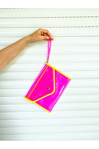 Kadın Pembe Çok Kullanışlı Neon Portföy Pvc El Çantası