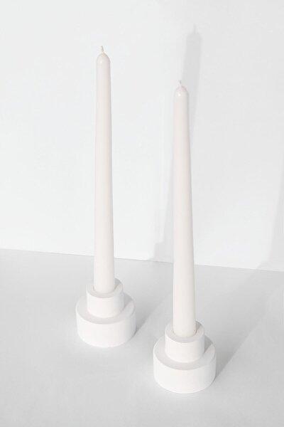 Steg 2'li Beyaz Şamdan Mumluk