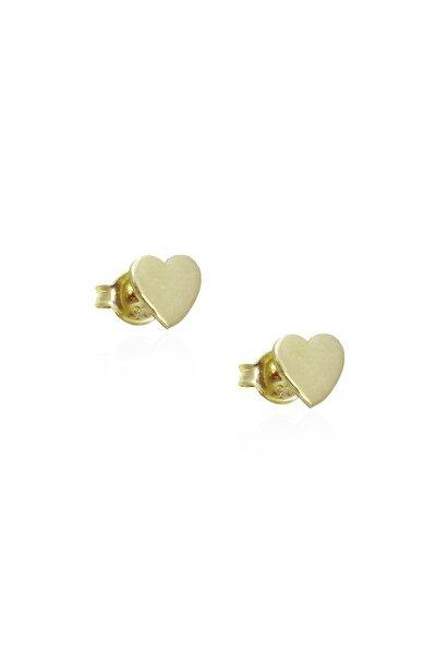 Sarı Renk Mini Kalp Gümüş Küpe