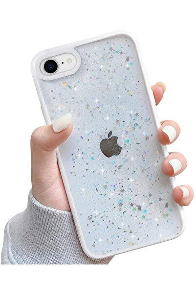 Iphone 6 / 6s Kenarı Renkli Simli Darbe Önleyici Silikon Kılıf Beyaz