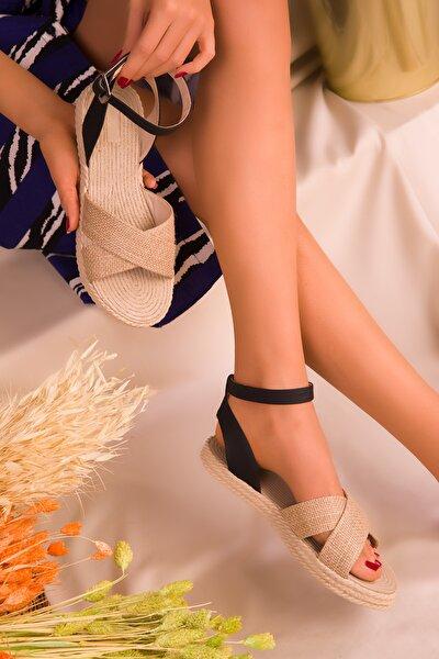 Hasır-Siyah Kadın Sandalet 14663