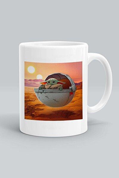 Beyaz Baby Yoda Star Wars Baskılı Kupa