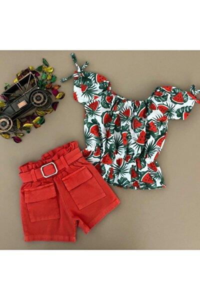 Kız Çocuk Kırmızı Karpuz Baskılı Şortlu Şık Takım