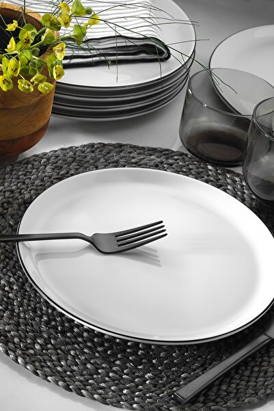 6'lı Modern Siyah Fileli Servis Tabağı Seti