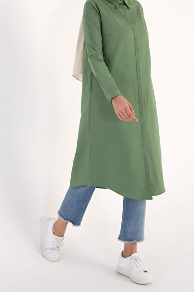 Kadın Yeşil Gizli Patlı Uzun Tunik