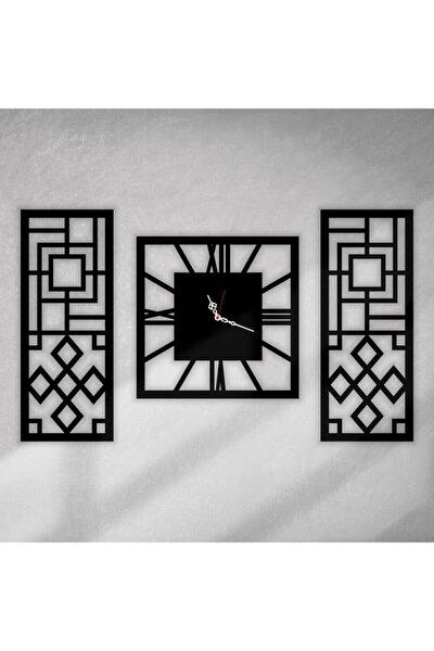 Dekoratif Ahşap Mdf 3 Parça Duvar Saati 85 X 50cm