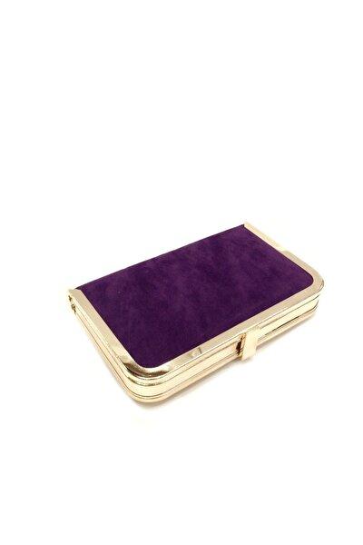Kadın Mor Süet Tablet Abiye Çanta