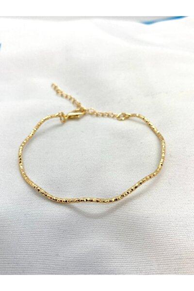 Kadın Altın Kaplama Ince Dalga Form Bileklik