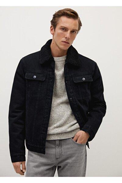 Erkek Siyah Yünü Astarlı Kot Ceket