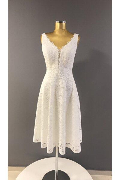 Kadın Krem Renk Çan Etek Detaylı Dantel Kısa Nikahlık Elbise Trendabiye K:6896