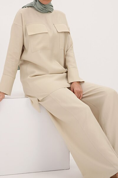 Kadın Taş Cep Detaylı Tunik