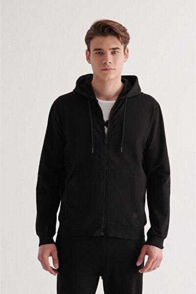 Erkek Siyah Fermuarlı Kapüşonlu Yaka Düz Sweatshirt E001009