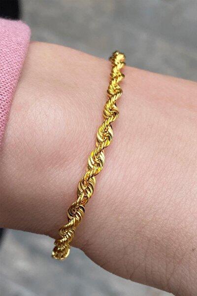 Kadın Sarı Altın 10 Mikron Halat Bileklik