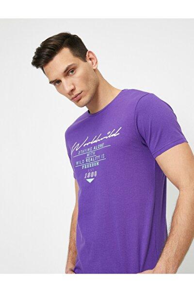 Erkek Mor Yazılı Baskılı T-Shirt 0YAM14842OK