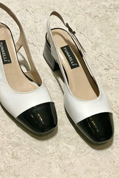 Kadın Siyah Beyaz  Deri Topuklu Ayakkabı