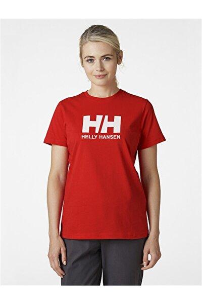 Kadın Kırmızı Pamuklu Helly Hansen Logo T-Shirt