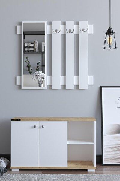 Plus Aynalı Vestiyer Ayakkabılık Portmanto Ve Duvar Askısı - Meşe / Beyaz