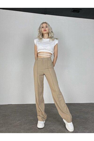 Kadın Bej Yüksek Bel Crep Kumaş Bueno Pantolon