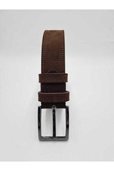Unisex Kahverengi Süet Spor Kemer 4cm