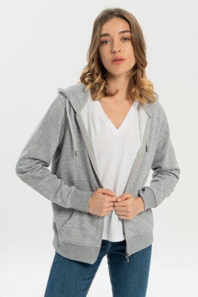 Gri Melanj Kapüşonlu Fermuarlı Kadın Sweatshirt