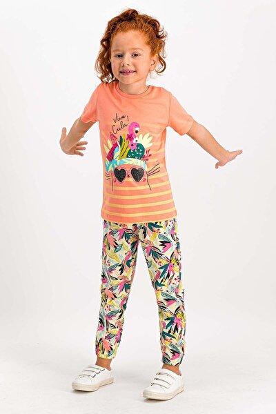 Kız Çocuk Turuncu Viva Cuba Flamingo Şeftali Kısa Kollu Pijama Takımı