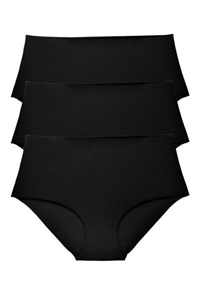 Kadın Siyah Yüksek Bel Lazer Kesim Külot 3 Lü Paket Set