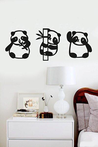 Panda 3lü Duvar Dekoru Siyah Ahşap Lazer Tablo Mdf