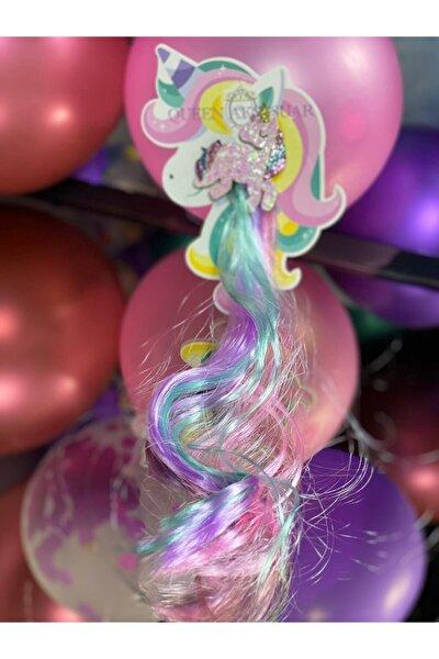 Unicorn Simli Parlak Pembe Lila Yeşil Sarkıt Çocuk Saç Postiş Toka