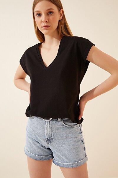 Kadın Siyah V Yaka Pamuklu Penye T-shirt DD00889