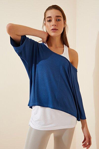 Kadın İndigo Mavi Atletli Salaş İkili T-shirt ZV00136