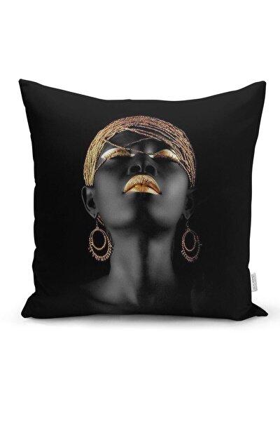 Siyahi Kadın Özel Tasarımlı Modern Dekoratif Yastık Kırlent Kılıfı Yns18