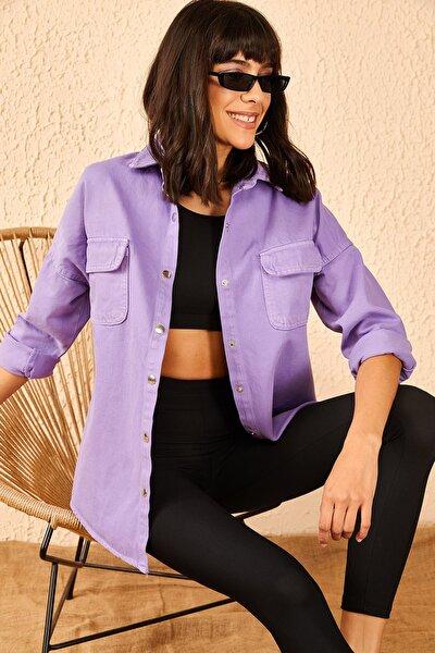 Kadın Lila Kolu Armalı Kot Gömlek 10951001