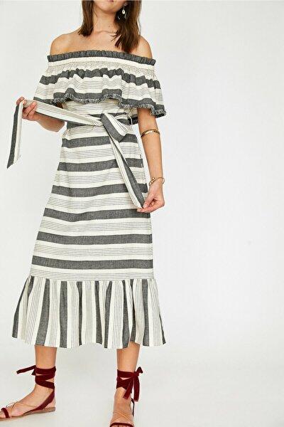 Kadın Siyah Çizgili Fırfır Detaylı Beli Bağlamalı Midi Elbise 9YAK82656UW