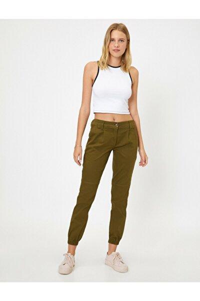 Kadın Yeşil Normal Bel Dar Kesim Cep Detaylı Pantolon 9YAL41158MW