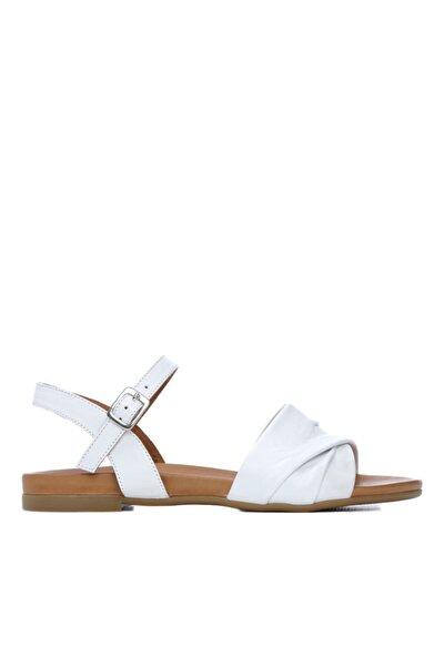 Kadın Beyaz Deri Sandalet Sandalet 766 0266 Byn Sndlt 21