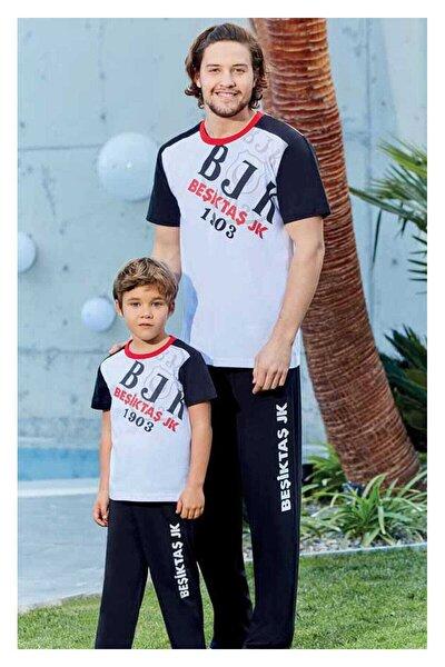 Erkek Beyaz Süprem Beşiktaş Pijama Takımı