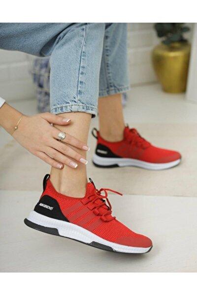 Kırmızı Tam Ortopedik Triko Sneaker