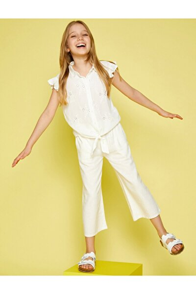 Kız Çocuk Beyaz Kolsuz Fırfırlı Gömlek