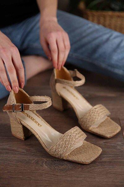 Kadın Bej Hasır Bilekten Bağlı Topuklu Ayakkabı