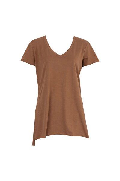 Kadın Kahverengi Salaş Tişört