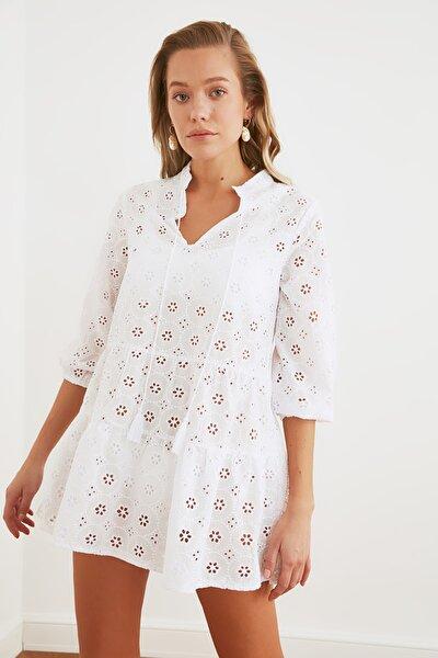 Beyaz  Fisto Plaj Elbisesi  TBESS21EL2333